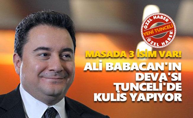 Ali Babacan'ın DEVA'sı Tunceli'de kulis yapıyor