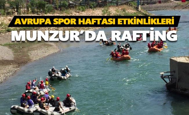 Spor haftası kapsamında Tunceli'de rafting yapıldı