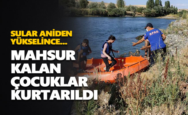 Peri suyunda mahsur kalan çocuklar kurtarıldı