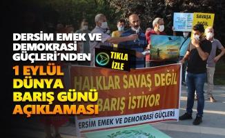 Dersim Emek ve Demokrasi Güçleri'nden 1 Eylül açıklaması