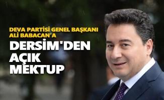DEVA Partisi Genel Başkanı Ali Babacan'a Dersim'den açık mektup