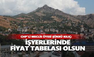 CHP'li Meclis Üyesi Şükrü Kılıç: İşyerlerinde fiyat tabelası olsun