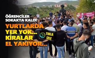 Yurtlarda yer bulamayan üniversite öğrencileri basın açıklaması yaptı